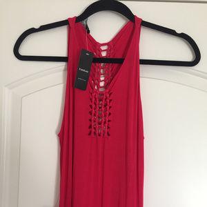 Brand-New Women's Pink Spaghetti Maxi Dress XS